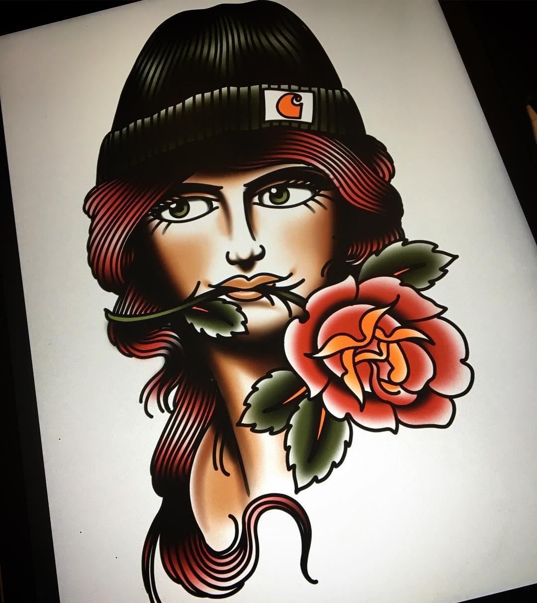 滑漫画oldschool先生玫瑰美女图案我的千金小姐纹身图片